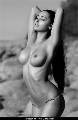 Helga Lovekaty - Beautiful Topless Russian Brunette Pornstar & Babe with Beautiful Open Natural Regular Tittes & Enormous Nipples (Sexual Pix)
