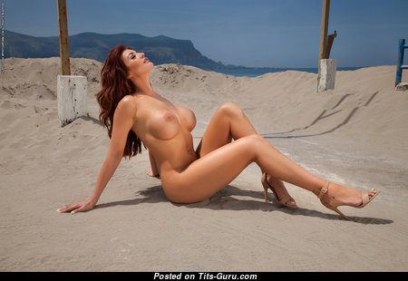Fascinating Babe with Fascinating Bare Silicone Tight Tittes in Bikini on the Beach (Hd 18+ Image)