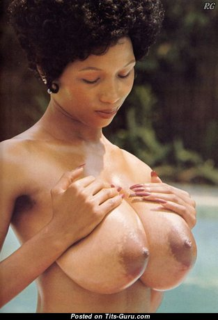 Sylvia McFarland - Dazzling American Brunette with Splendid Naked Natural Ddd Size Tittys in the Pool (Vintage Sexual Image)