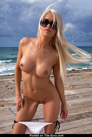 Image. Nude blonde with medium fake breast image