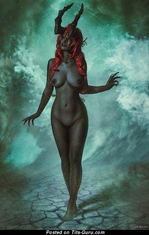 Sexy naked amazing girl with medium tits photo