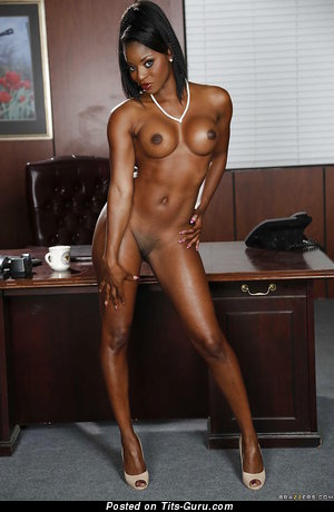 Image. Diamond Jackson - sexy naked ebony brunette with medium fake boobs photo