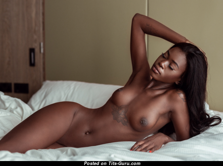 Naomi Nash - Sexy Topless Ebony Babe with Sexy Bare Microscopic Knockers, Enormous Nipples, Tattoo (18+ Pix)