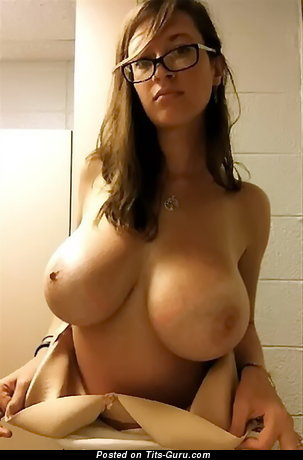 Image. Sexy nude brunette with big natural tots selfie