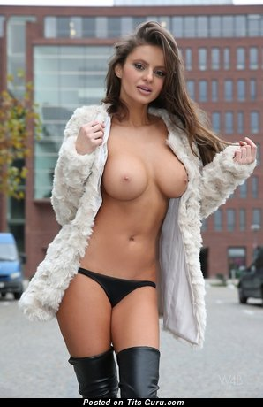 Dana Hatonova - Hot Topless Babe with Hot Exposed Average Hooters in Panties (18+ Image)