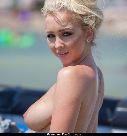 Graceful Blonde with Graceful Bare Real Mid Size Jugs (Porn Wallpaper)