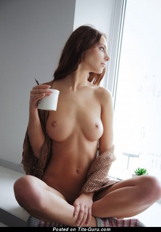 Nude awesome girl with medium natural boob photo