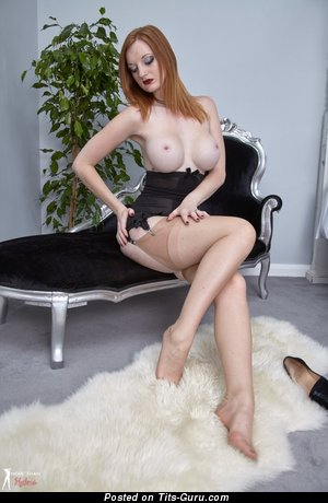 Zara Du Rose - sexy topless red hair with medium boobies and big nipples picture