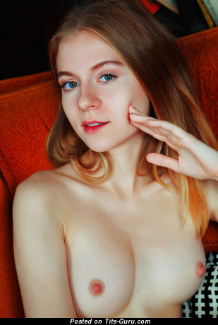 Naked red hair with natural boobies photo