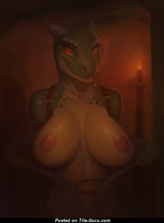 Argonian - Lovely Topless, Non-Nude & Glamour Nerd with Enormous Nipples is Doing Fitness & Undressing (Hd Xxx Pic)