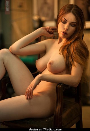 Awesome Red Hair Babe with Awesome Bald Real Average Jugs (Xxx Image)