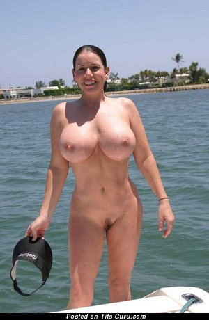 Nude brunette with fake boob pic