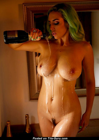 Pleasing Topless & Wet Blonde Babe with Pleasing Bald Medium Chest (Sexual Photo)