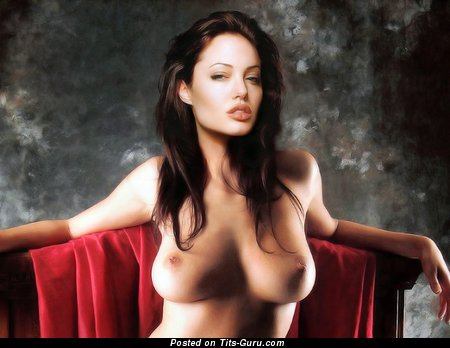 Angelina Jolie - Graceful Topless American Brunette Babe & Actress with Graceful Bare C Size Breasts & Tattoo (Hd Sexual Pix)