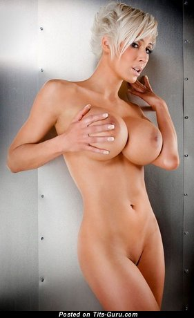 Image. Nude blonde with huge fake tits pic