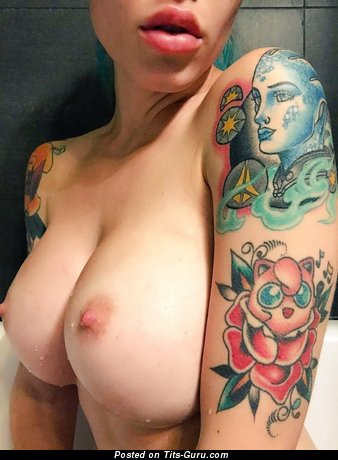 Wet topless amateur awesome girl with medium boob image