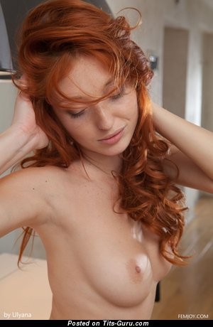 Naked red hair with small natural boobies pic