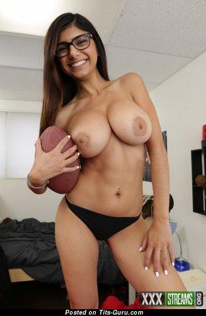 Mia Khalifa: sexy topless brunette with medium breast & big nipples picture