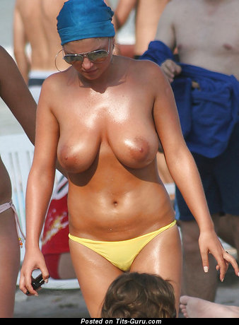 Image. Topless awesome woman with medium natural boobies pic