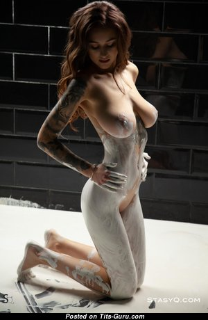 Dazzling Wet, Painted & Glamour Unclothed Babe with Tattoo (Hd Porn Pic)