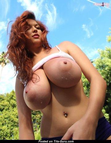 Tessa Fowler - Pleasing Topless American Red Hair Pornstar, Babe & Girlfriend with Pleasing Open Real Very Huge Knockers & Large Nipples (Hd Sexual Wallpaper)