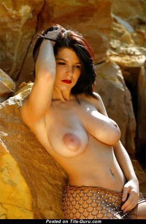 Greta Istvandi - Charming Topless Hungarian Red Hair with Charming Exposed Natural Jugs (Sexual Picture)