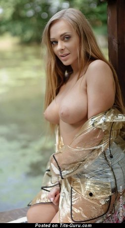 Image. Katerina Muti - sexy topless red hair with big natural boobies photo