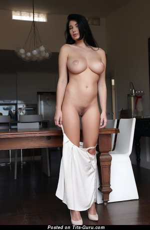 Image. Naked brunette with big natural breast image