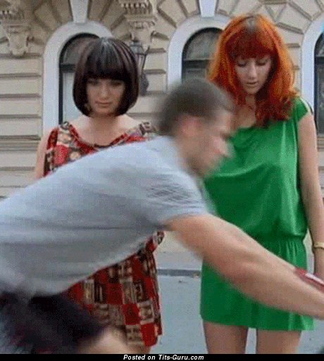 Lidia Krasnoruzheva & Olga Pavlenko & Beautiful Topless Brunette & Red Hair Babe Jumping Delightful Bald Natural Medium Balloons (Xxx Gif)