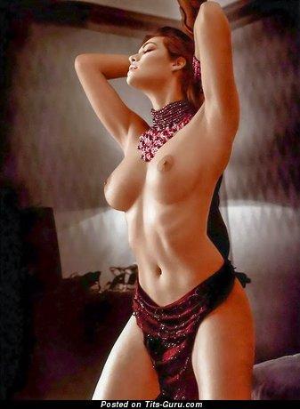 Manuela Arcuri - sexy naked brunette with medium natural tits image