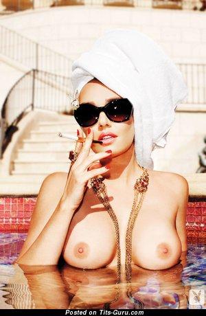 Tamara Ecclestone - Elegant British Playboy Red Hair Babe with Elegant Bare Natural Firm Boobie in the Pool (Hd Sex Photoshoot)