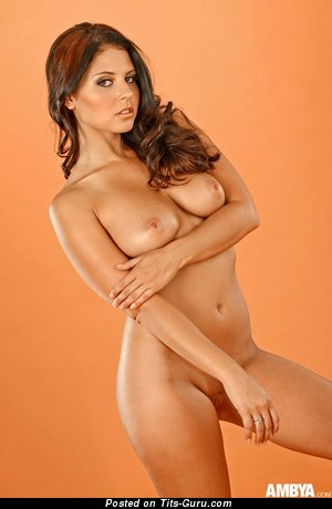 Image. Cali Logan - nude brunette with medium natural breast photo