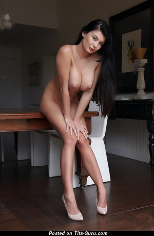Image. Lucy - nude brunette with big natural boobies and big nipples image