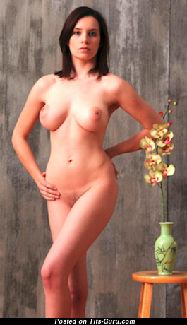 Jacqueline - Exquisite Glamour & Topless Brunette with Exquisite Exposed Natural C Size Tots, Long Nipples, Tan Lines (Porn Picture)