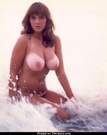 Lovely Topless & Wet Brunette Babe with Elegant Bald Natural Regular Titties (Vintage Hd Xxx Photo)