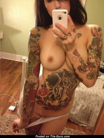 Riae - The Nicest Glamour Italian Playboy Brunette Babe & Girlfriend with The Nicest Bald Natural Tit, Enormous Nipples, Piercing & Tattoo (18+ Wallpaper)