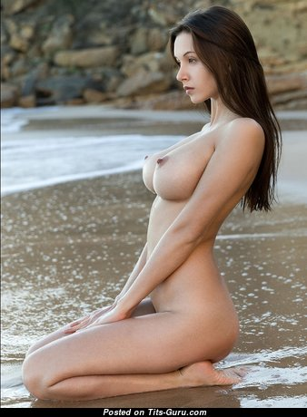 Pleasing Wet & Topless Playboy Babe with Pleasing Nude Natural Average Melons & Large Nipples (on Public 18+ Picture)