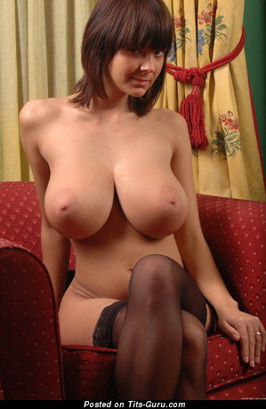 Amateur nude brunette with big boob and big nipples photo