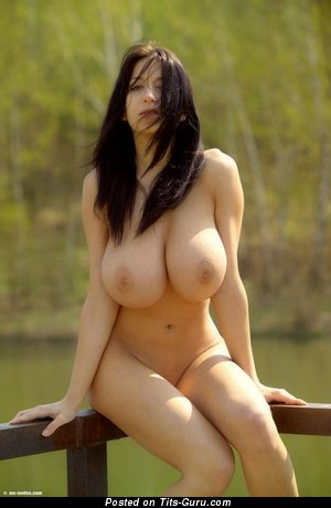 Nude awesome female with natural breast pic