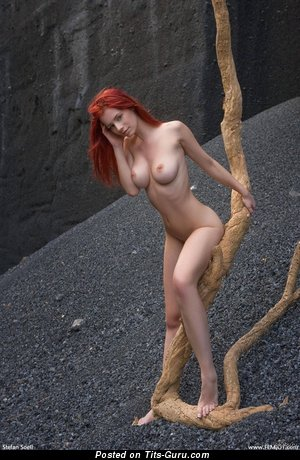 Nude nice lady with medium natural breast image