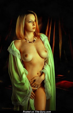 Image. Naked blonde with medium natural breast picture