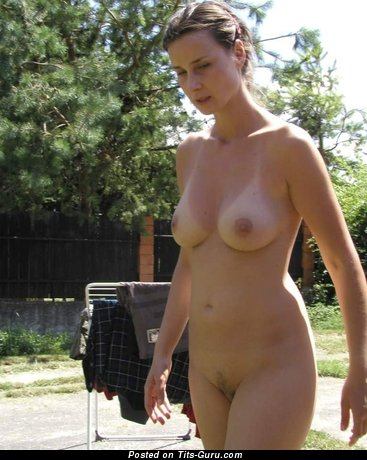 Naked awesome woman with natural boobs image