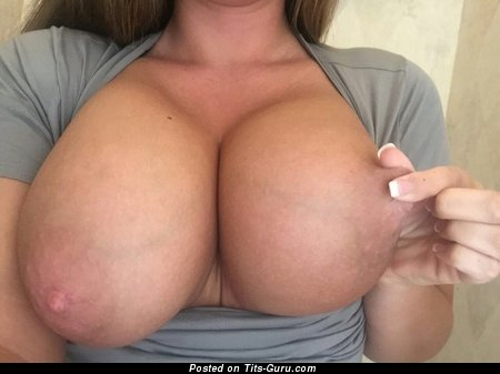 Alluring Topless Chick with Alluring Defenseless H Size Titty (Sexual Image)