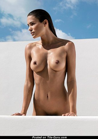 Image. Wet nude awesome lady with medium natural boobies picture