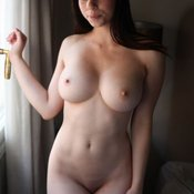 Hot girl with natural breast photo