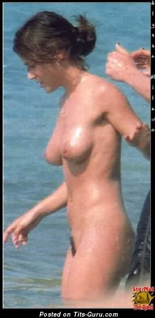 Image. Alyssa Milano - sexy wet nude brunette with medium natural boob and big nipples pic