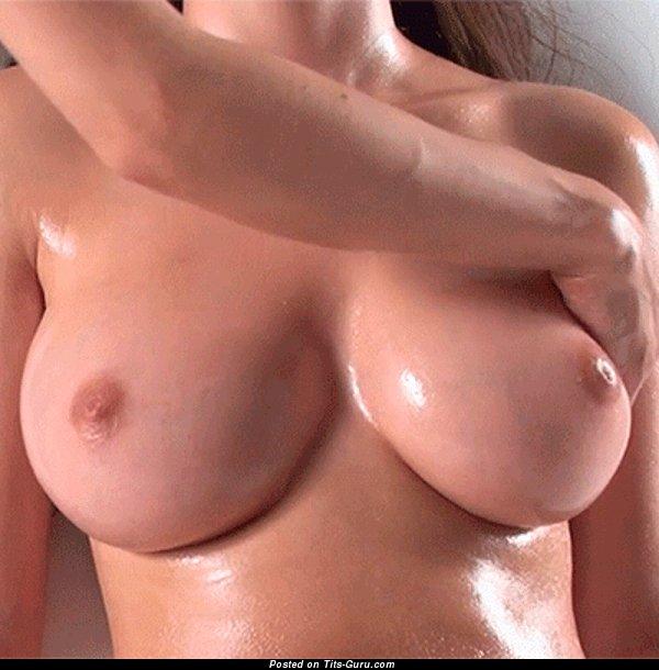 Wet nude beautiful female with medium natural boob gif