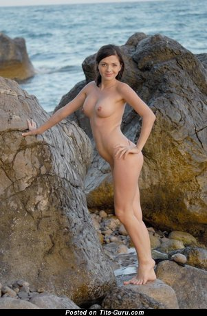 Image. Adel A - nude brunette with medium tittys image