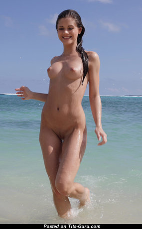 Splendid Wet Nude Brunette on the Beach (Hd Xxx Wallpaper)