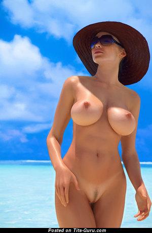 Amateur nude beautiful woman with medium boobs image